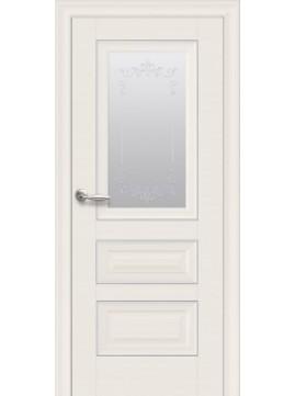 Межкомнатные двери СТАТУС со стеклом сатин, молдингом и рисунком Р2