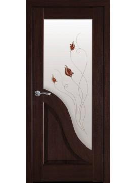 Межкомнатные двери АМАТА со стеклом сатин и цветной рисунок P2