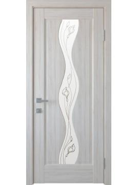 Межкомнатные двери ВОЛНА со стеклом сатин и рисунком P2