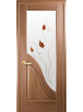 Межкомнатные двери АМАТА со стеклом сатин и рисунком P2