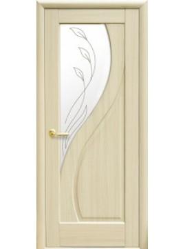 Міжкімнатні двері ПРІМА зі склом сатин і малюнком P1