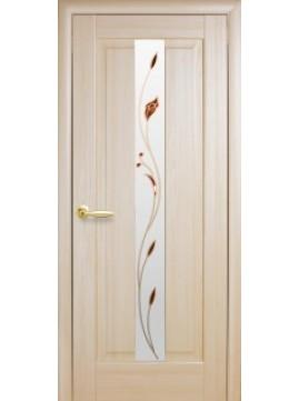Міжкімнатні двері ПРЕМ'ЄРА  зі склом сатин і малюнком P2