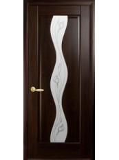 Межкомнатные двери ВОЛНА со стеклом сатин и рисунком P1