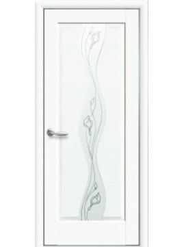 Межкомнатные двери Волна со стеклом сатин и рисунком P1 белые