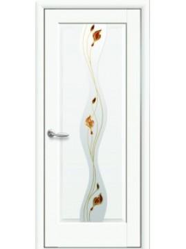 Міжкімнатні двері ВОЛНА зі склом сатин і малюнком P2