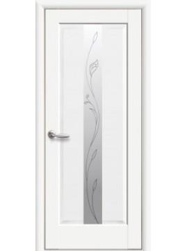 Міжкімнатні двері ПРЕМ'ЄРА зі склом сатин і малюнком  P1