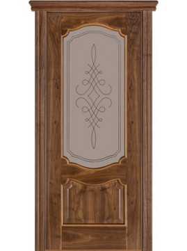 Межкомнатные двери модель 41 со стеклом орех американский
